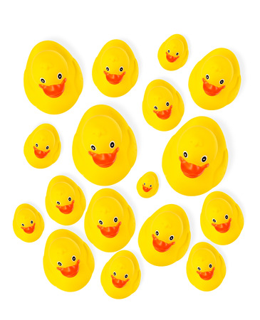 Group of yellow rubber ducks Imagens