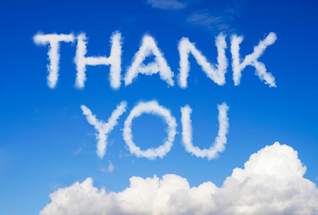 blue you: Thank you message in the sky Stock Photo