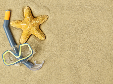 swimming goggles: Starfish and swimming goggles on sand