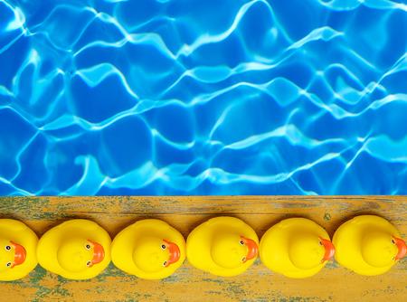 hilera: Patos de goma cerca de la piscina