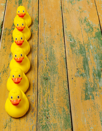 peeling rubber: Rubber ducks on wood