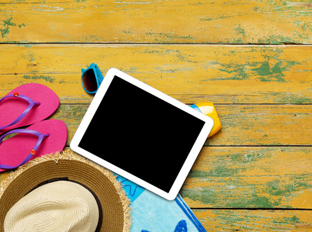 Tablet and beach accessories photo