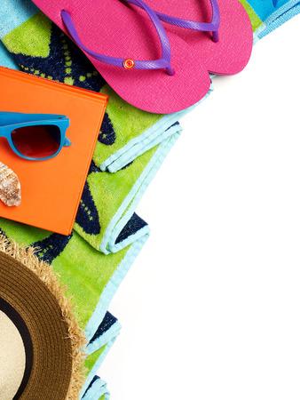 toallas: Toalla de playa y accesorios Foto de archivo