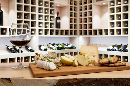 Wine tasting in wine rack