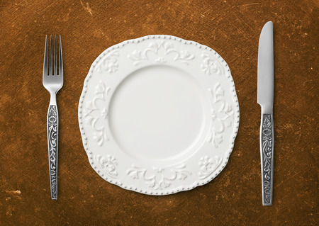 plate setting: Dinner plate setting Stock Photo