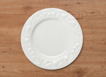 dinner plate: Dinner plate on wood table