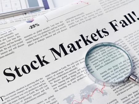 changing form: Stock market fall headline on newspaper