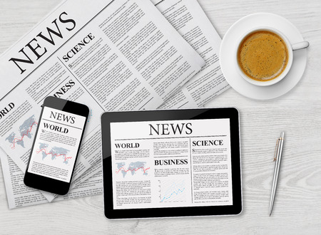 articles: News page on tablet, mobile phone and newspaper
