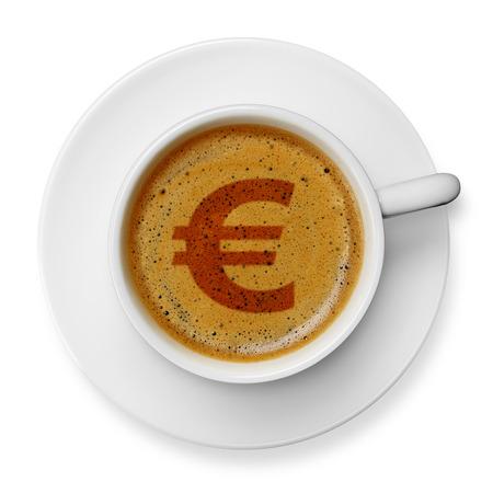 euro symbol: Euro symbol on coffee