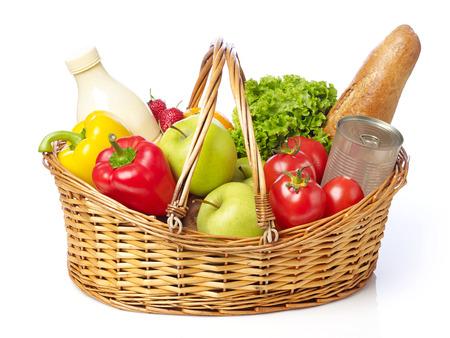 fruit basket: Basket with fruits and vegetable
