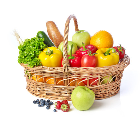 fruits in a basket: Basket with fruits and vegetable