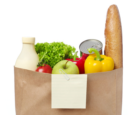 groceries: Shopping list on a bag of groceries