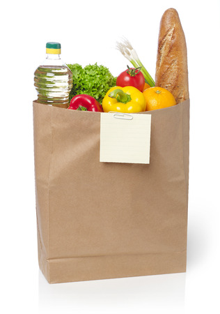 Shopping list on a bag of groceries