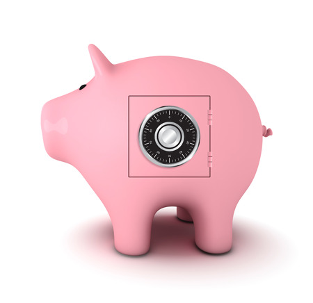 combination: Piggy bank with combination lock Stock Photo