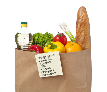 list: Shopping list on a bag of groceries