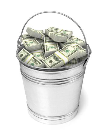 돈의 전체 양동이 스톡 콘텐츠 - 45917336