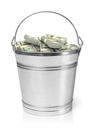 bucket of money: Bucket full of money