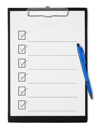 clipboard: Checklist on clipboard Stock Photo
