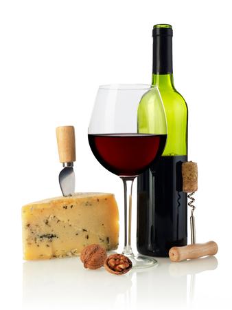 queso blanco: Vino y queso Foto de archivo