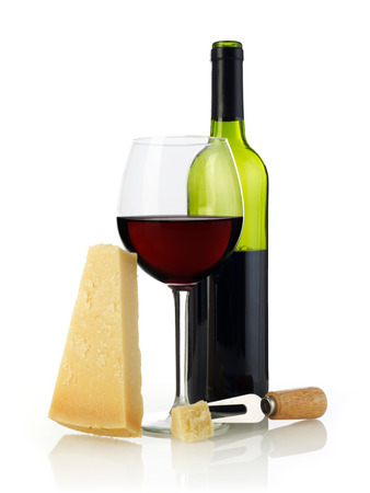 parmesan cheese: Wine and parmesan cheese Stock Photo
