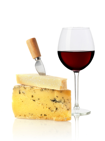 Weinglas und Käse Lizenzfreie Bilder