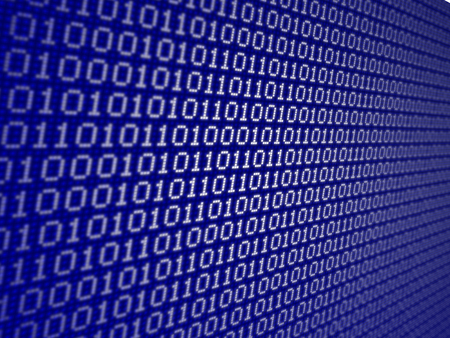 diminishing perspective: Binary code Stock Photo