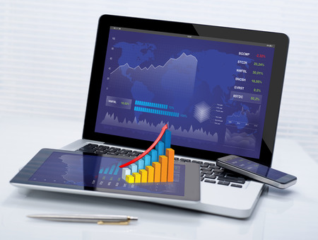 Business stocks on mobile devices