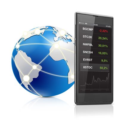 stock ticker board: Stock quotes on mobile phone and globe