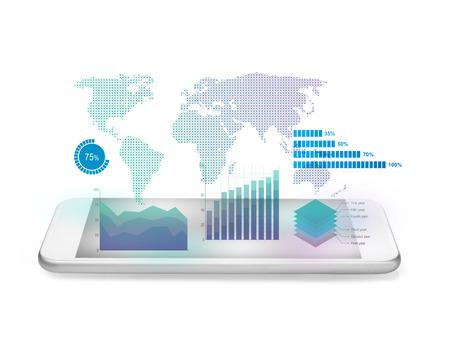 inteligencia: Diagramas que sobresalen de teléfono móvil