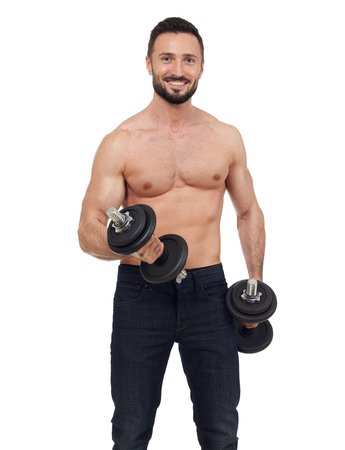 muscular men: Muscular man with weights, isolated on white