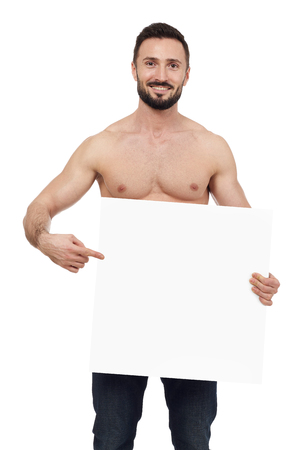 blank sign: Shirtless man pointing to a blank sign, white background