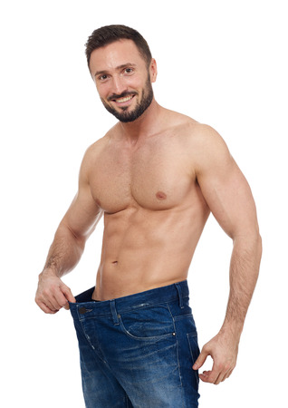 larger: Muscular man with larger jeans