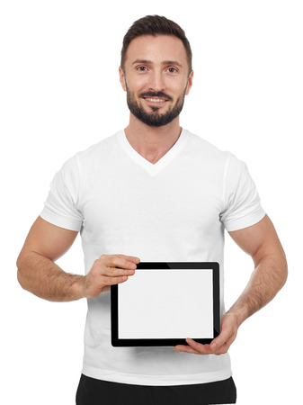 showing: Cheerful man showing digital tablet, white background