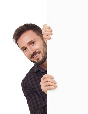 billboard posting: Man with blank sign