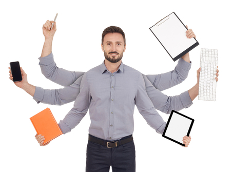 file clerk: Busy cheerful man
