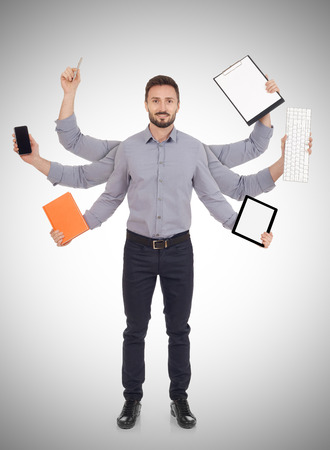 file clerk: Multi-tasking Stock Photo