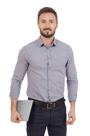carying: Businessman carying a digital tablet