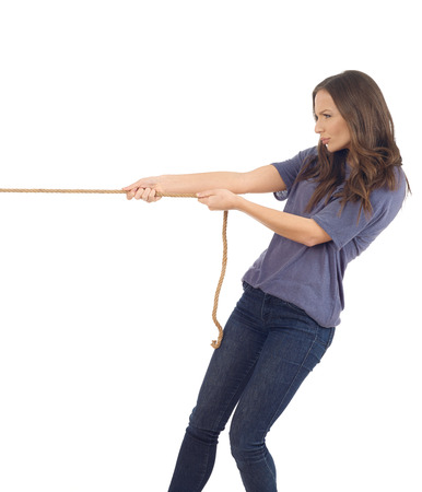tough girl: Teenager pulling a rope