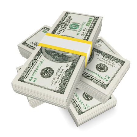 us currency: Stack of dollars
