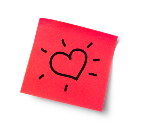 adhesive  note: Heart adhesive note