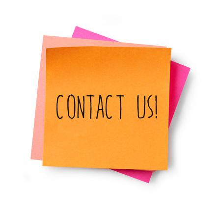 contact us: Contact us adhesive note