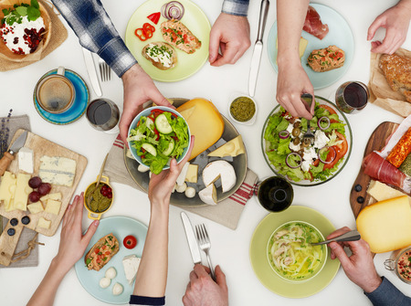 food healthy: View from above the table of people eating Stock Photo