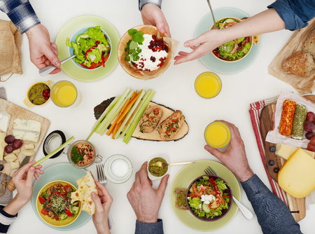 directly above: Family dinner Stock Photo