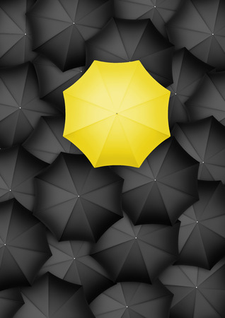 yellow umbrella: Yellow umbrella standing out from the rest