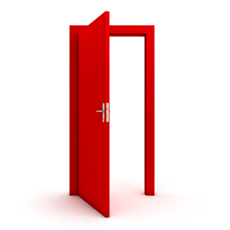 getting away from it all: Open red door Stock Photo