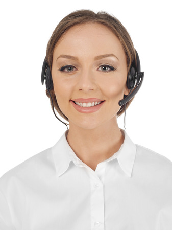 handsfree device: Woman with headset