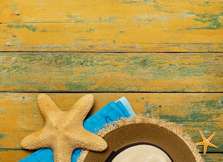 straw the hat: Straw hat and starfish Stock Photo