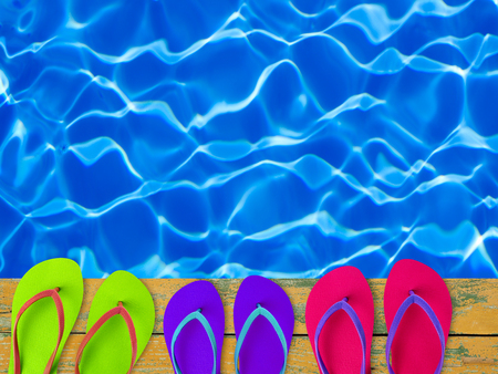 pool side: Slippers by the pool side
