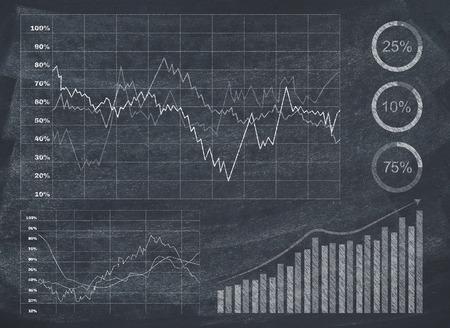 stock graph: Diagram on blackboard