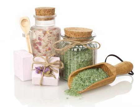 salts: Spa bath salts and soap Stock Photo